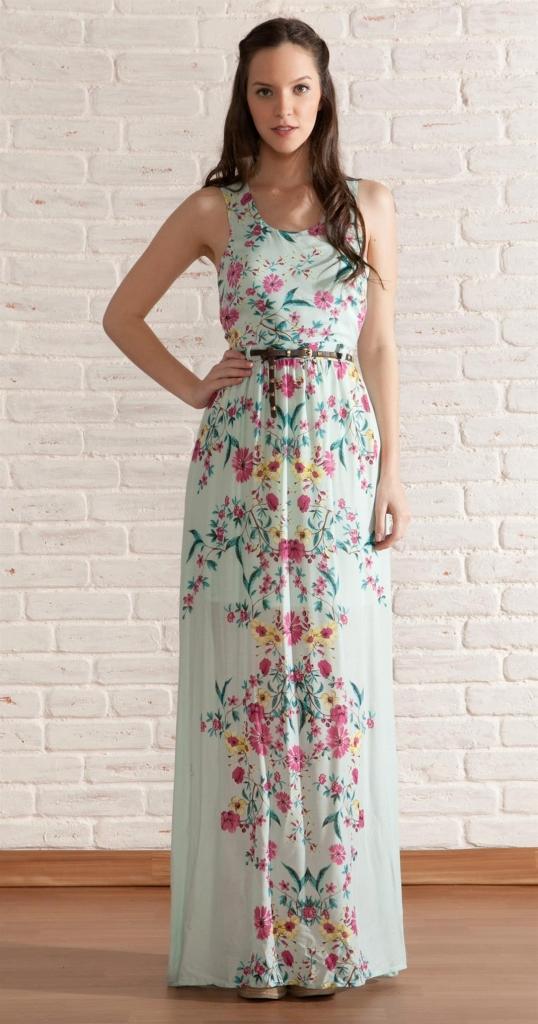 Vestido longo floral verao