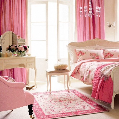 Decoração Dicas de cortinas pink para quarto feminino  ~ Quarto Rosa Com