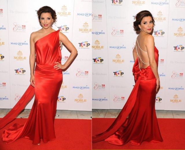 Eva-Longoria-usa-vestido-vermelho-em-look-dramático-Domínio-da-Moda