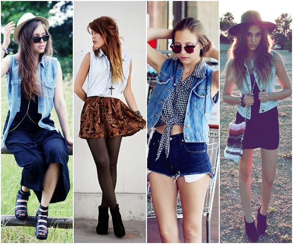 Resultado de imagem para como usar colete jeans no verão